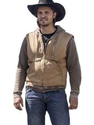 Luke Grimes Kayce Dutton Beige Rib Collar Cotton Vest