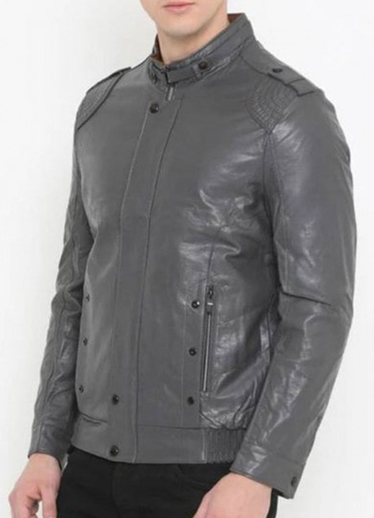 Biker Grey Faux Leather Jacket For Men's