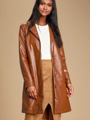 Brown Faux Leather Trench Coat For Women