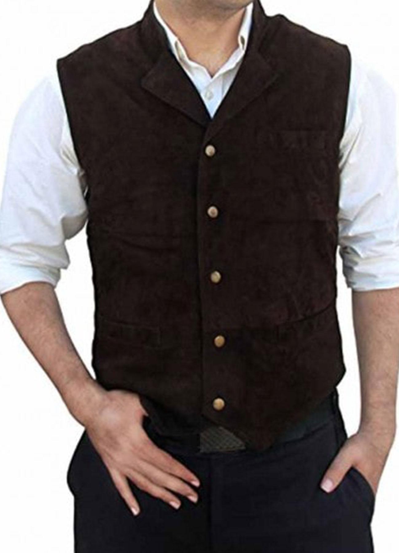 Chris Pratt The Magnificent Seven Brown Suede Leather Vest