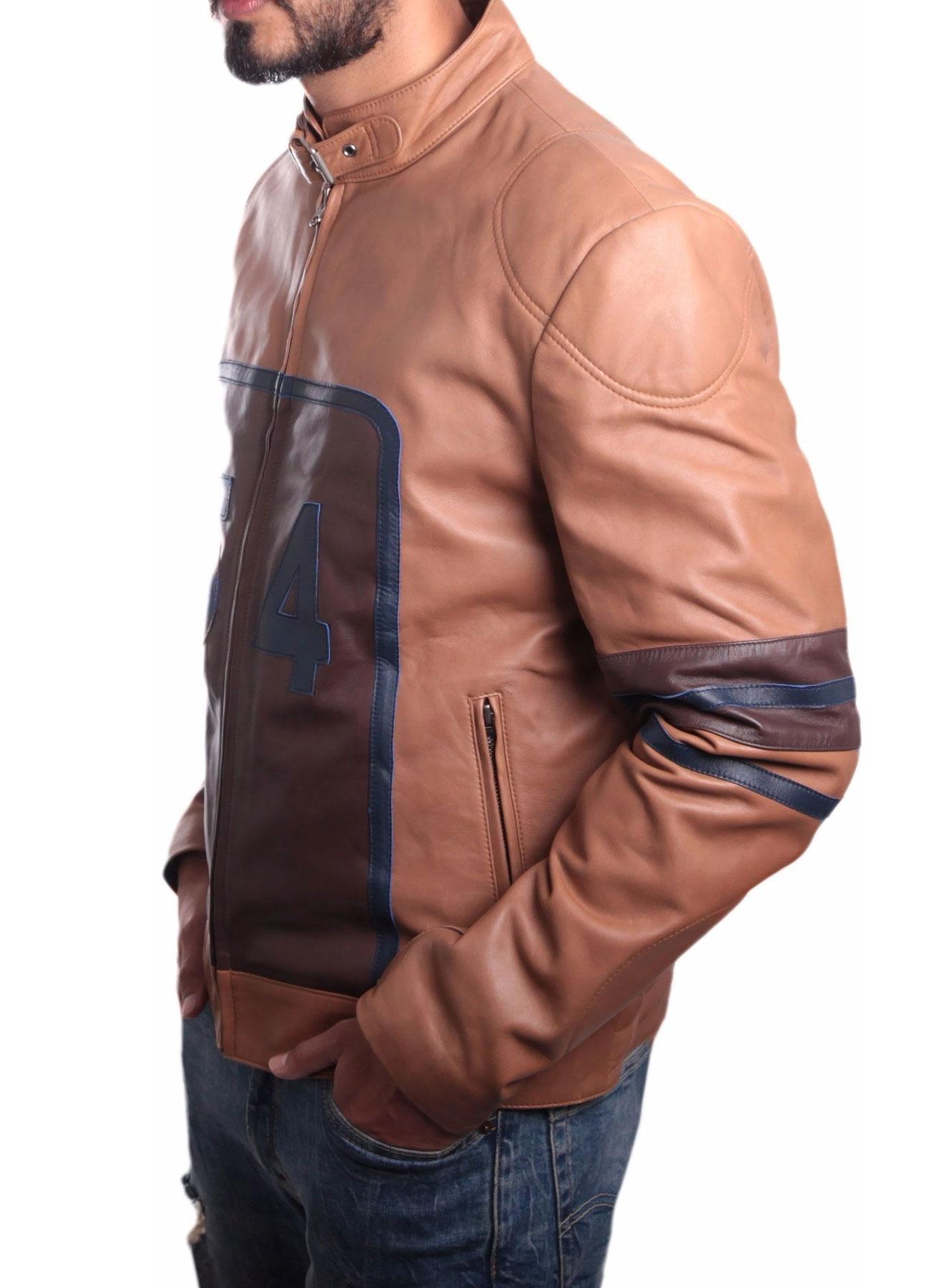 Cowhide Racing Leather Jacket Tan Brown For Men's