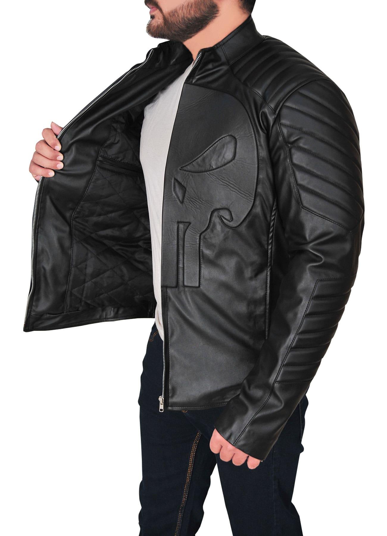 Dapper Trendy Black Skull Faux Leather Jacket