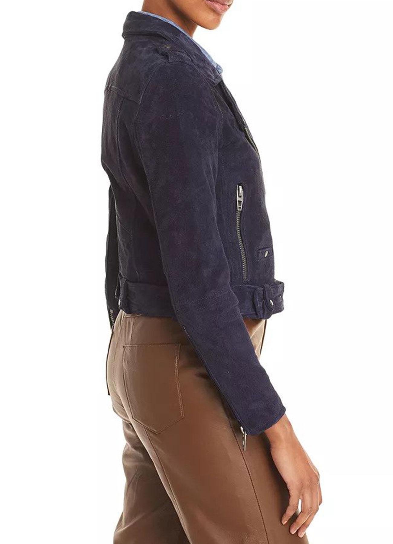 Dark Blue Suede Leather Jacket – Fashion Biker Jacket