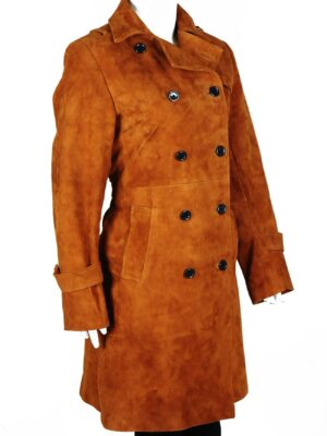 Fashion Brown Suede Leather Long Trench Coat