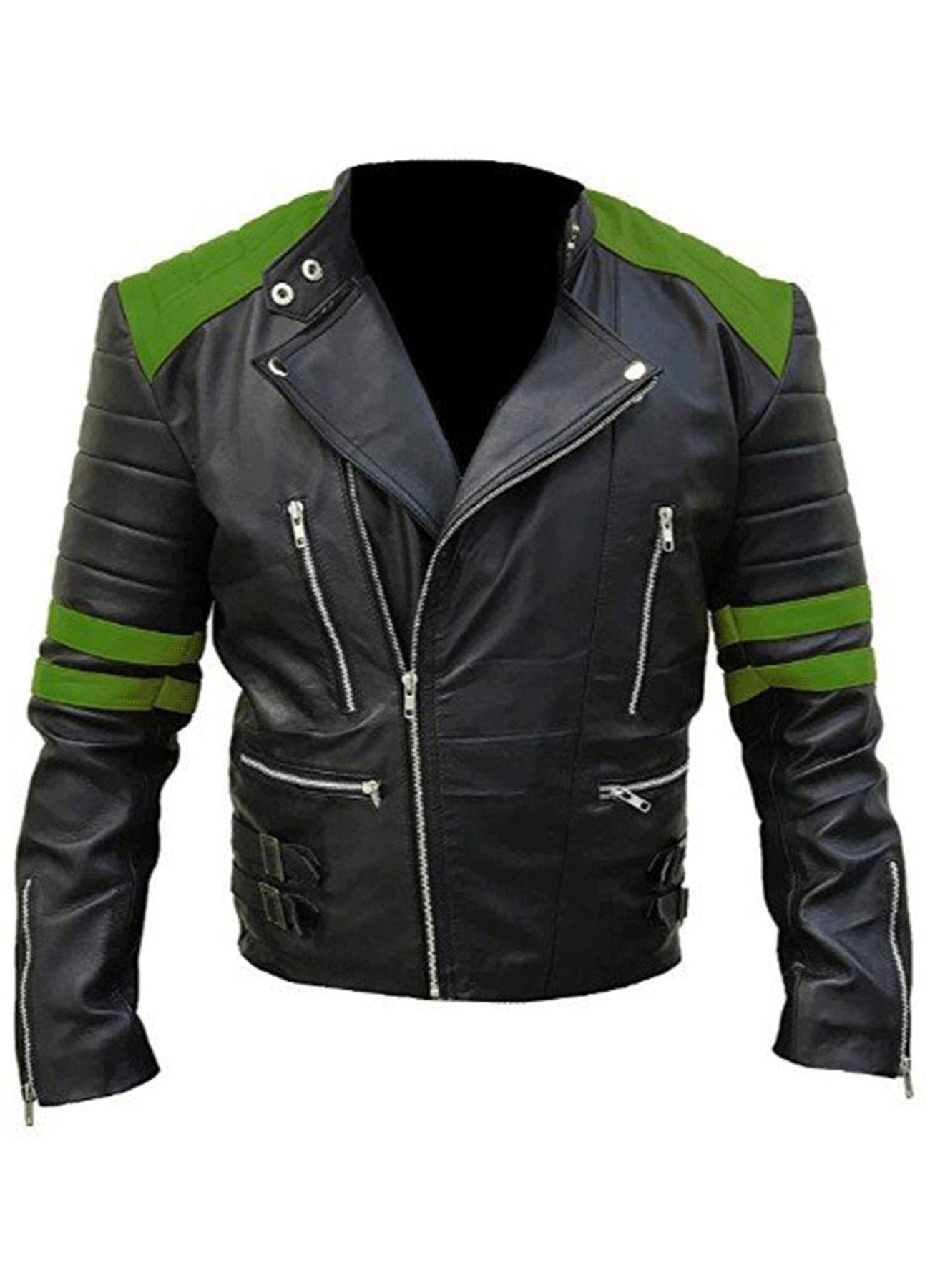 Genuine Leather Jacket - Classic Biker Motorcycle Black & Green Jacket