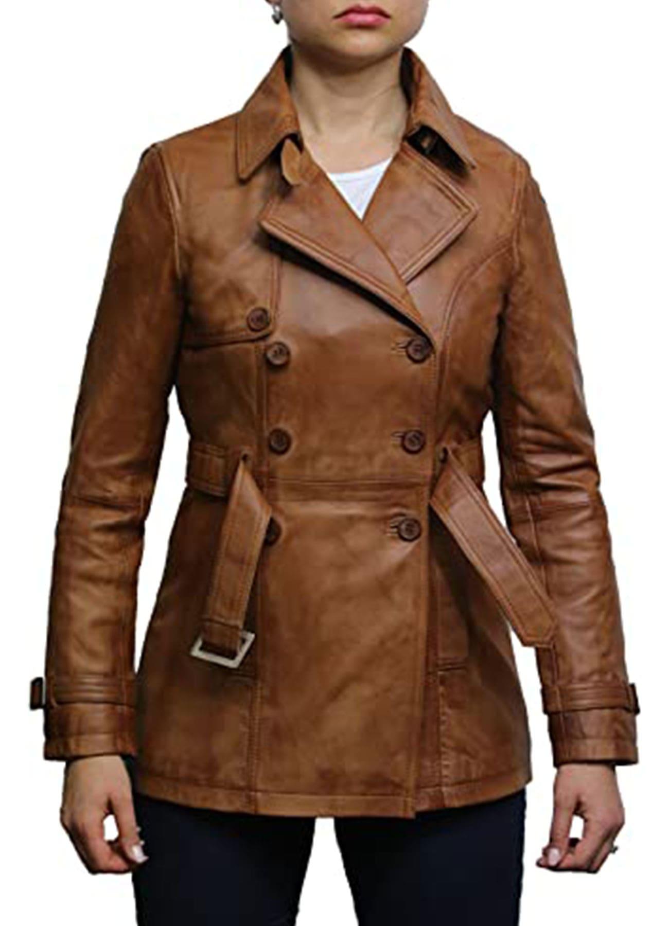 Women's Fashion Biker Jacket Coat Tan Superior Real Leather