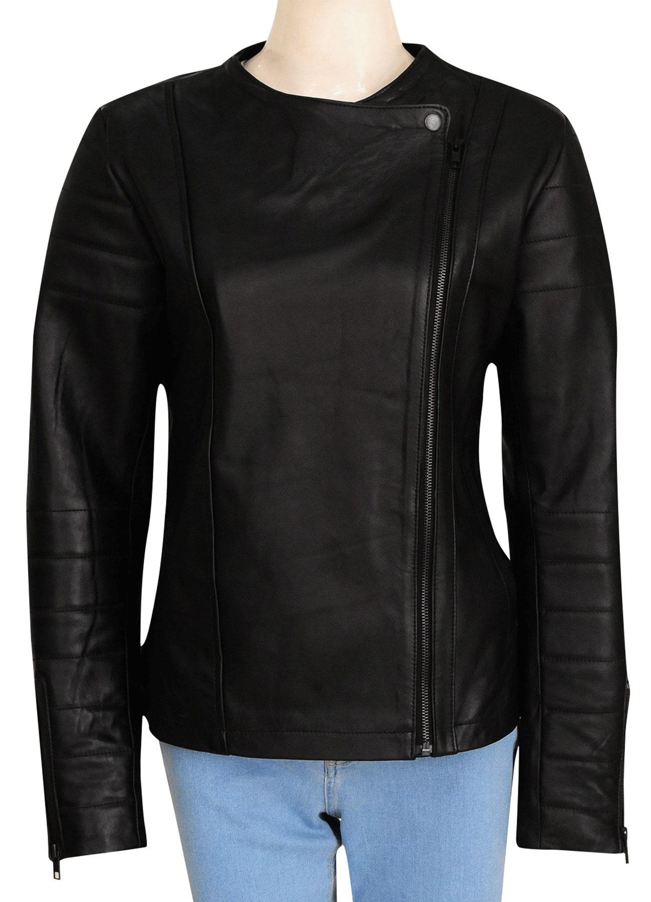 Jenna Coleman Doctor Who Series Genuine Leather Black Jacket