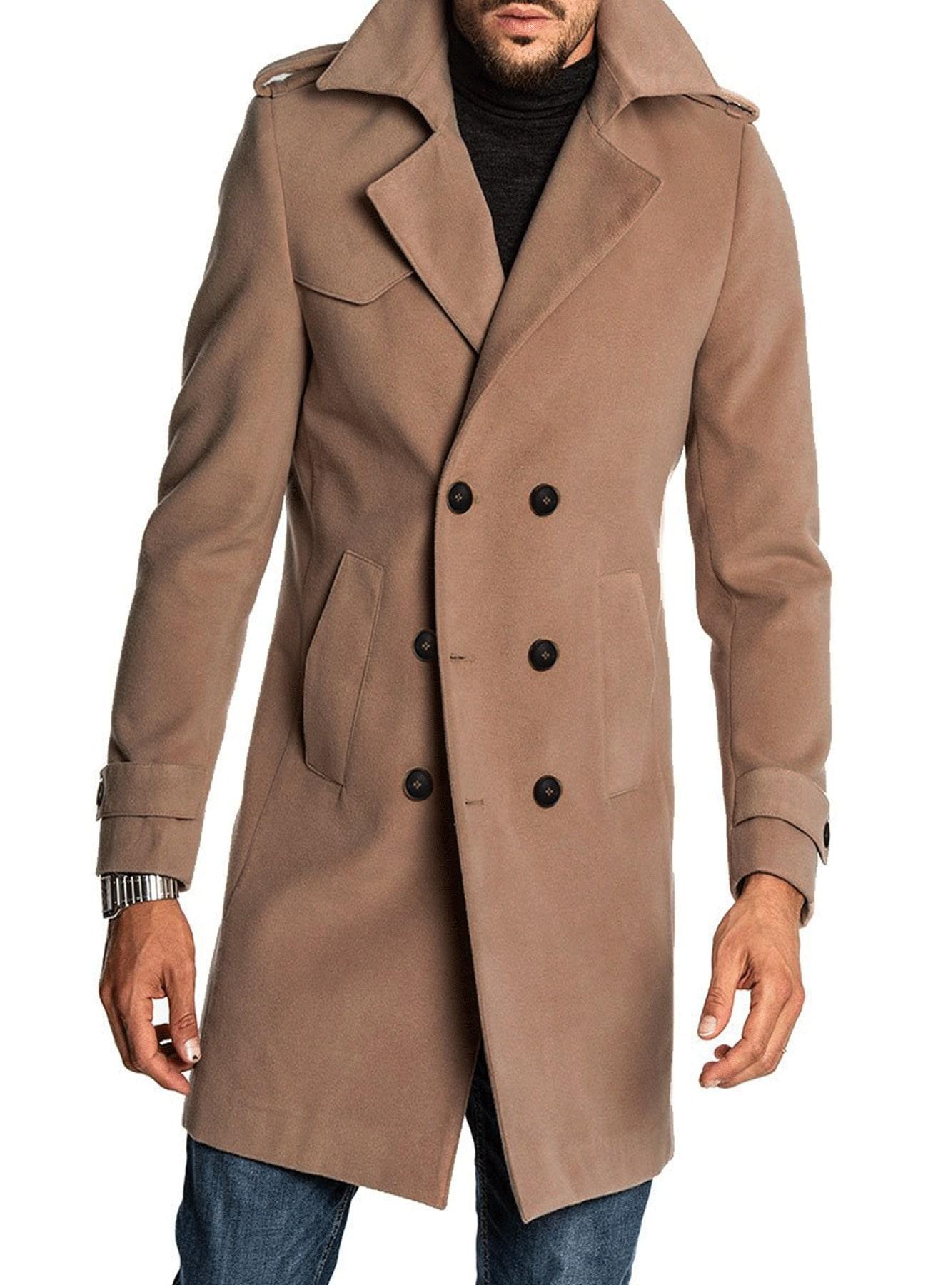 Men Beige Double Breasted Wool Long Coat