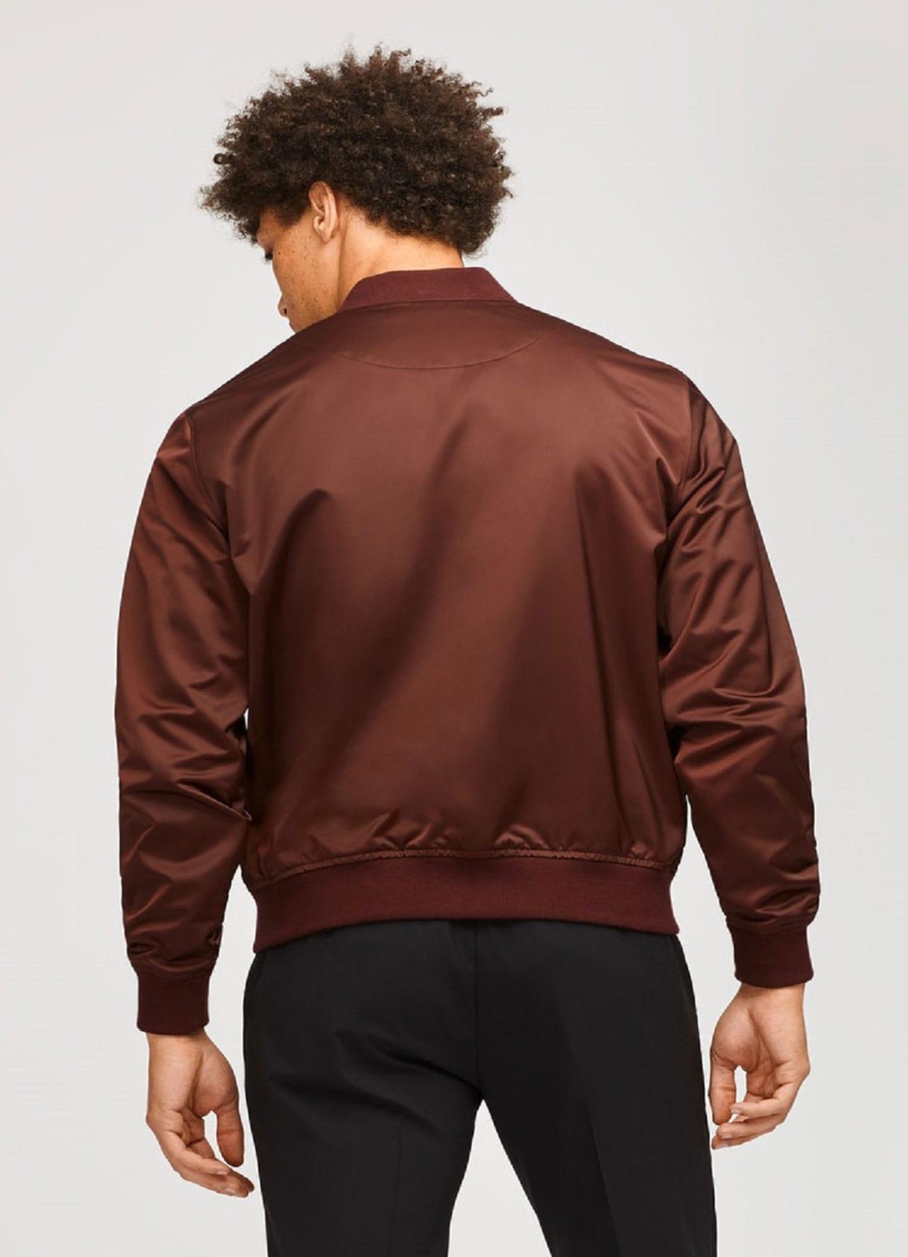Men Burgundy Leather Varsity Satin Fabric Jacket