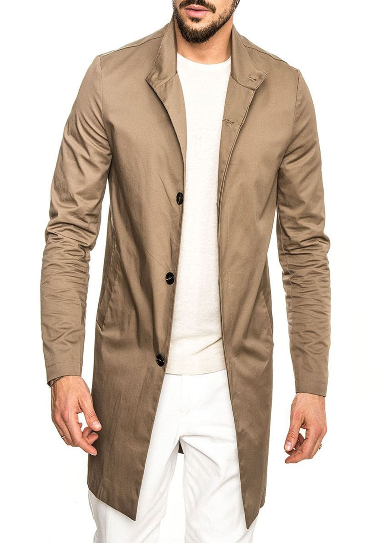 Men Polish Brown 100% Cotton Fabric Long Trench Coat