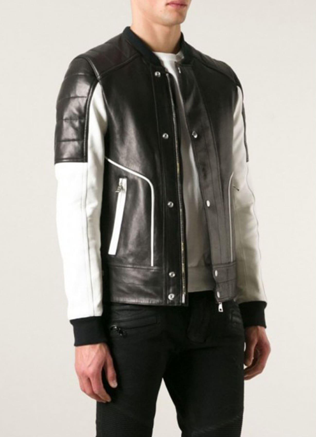 Men's Fashion Bomber Black & White Faux Leather Jacket