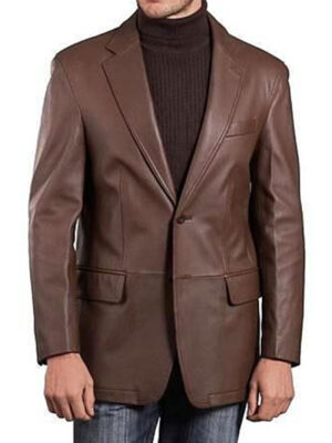 Men's Lambskin Choco Brown Blazer 100% Real Leather