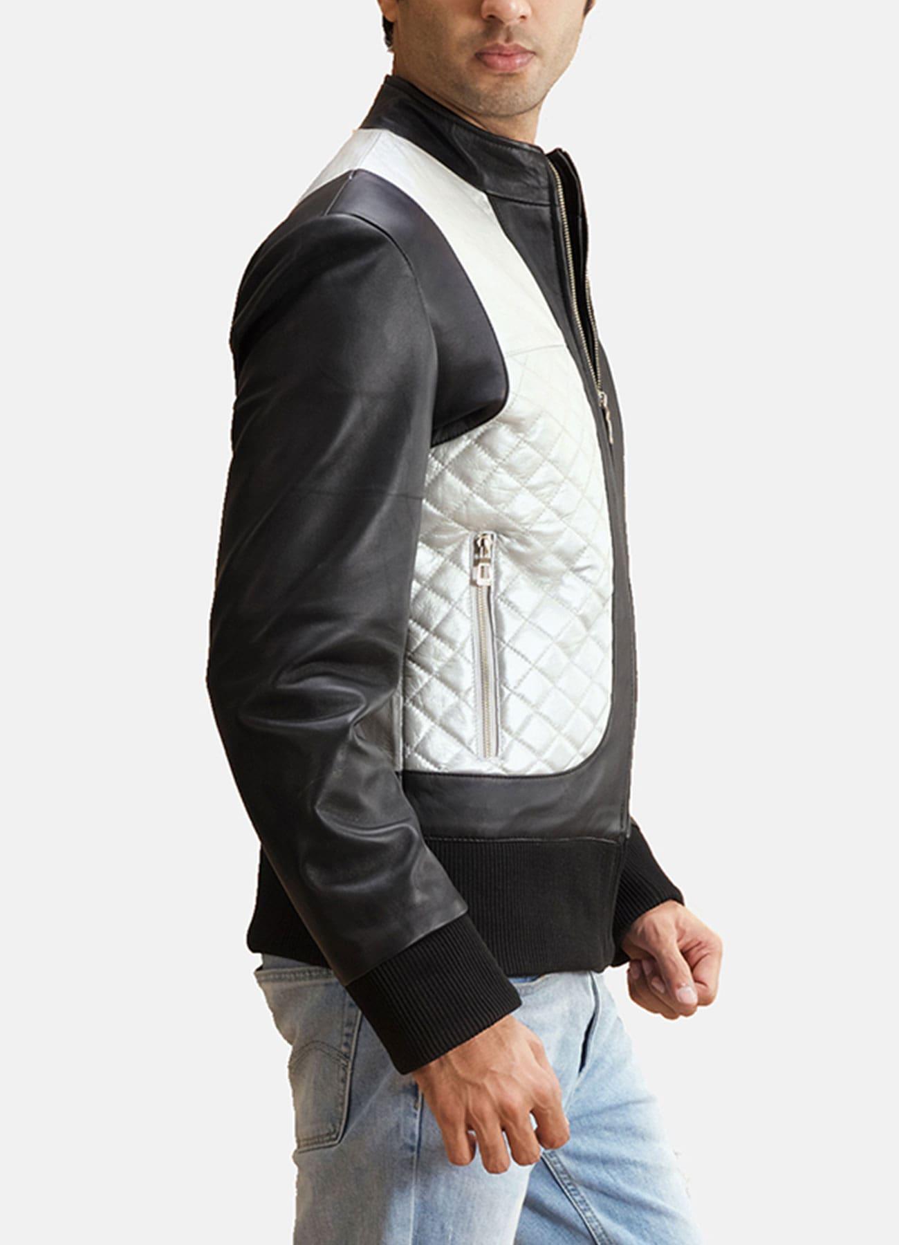 Men's Silver Black Faux Leather Bomber Jacket