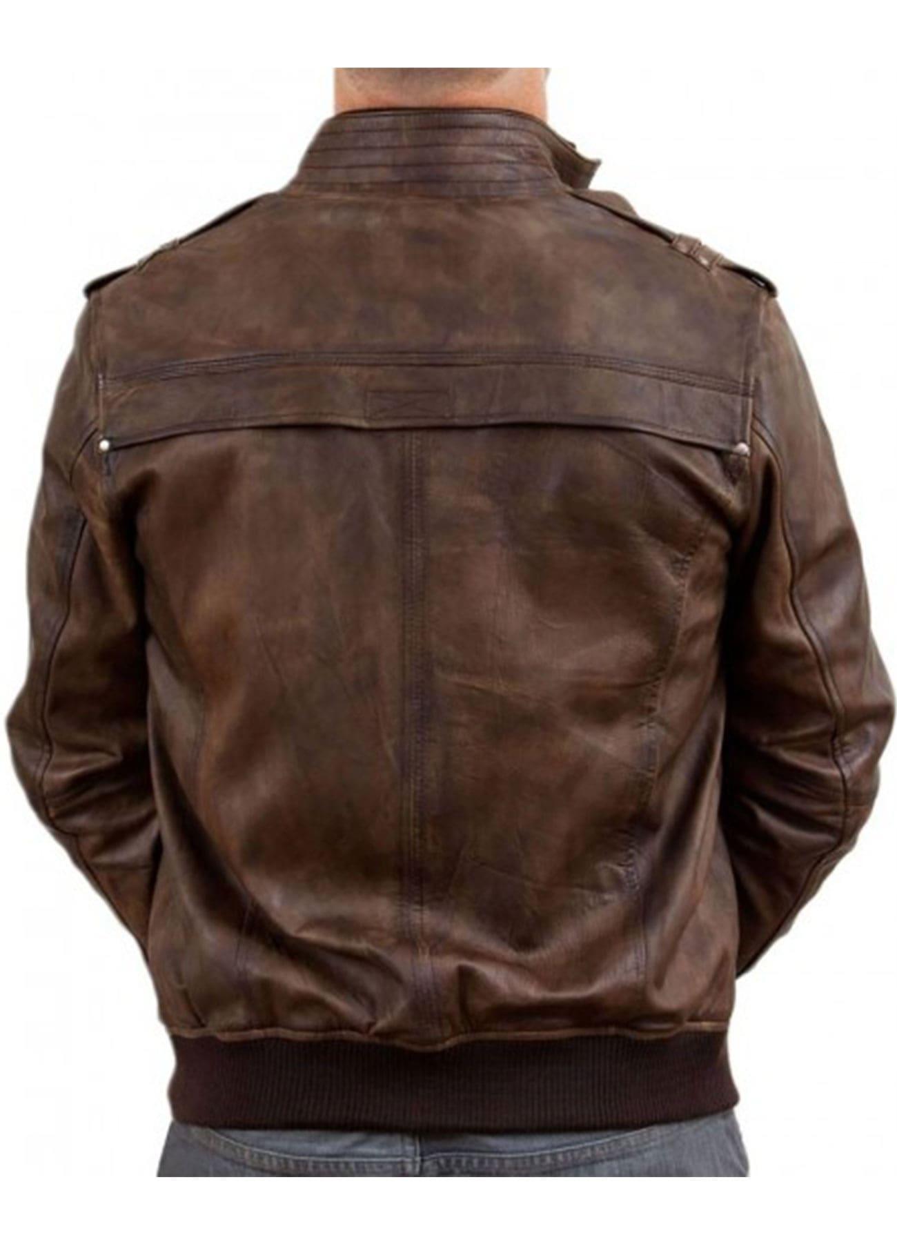 Men's Vintage Brown Bomber Waxed Genuine Leather Jacket