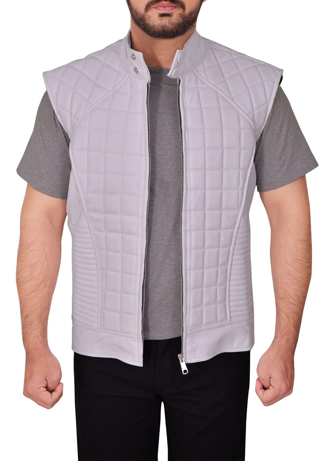 Stylish Men Outfit White Faux Leather Vest
