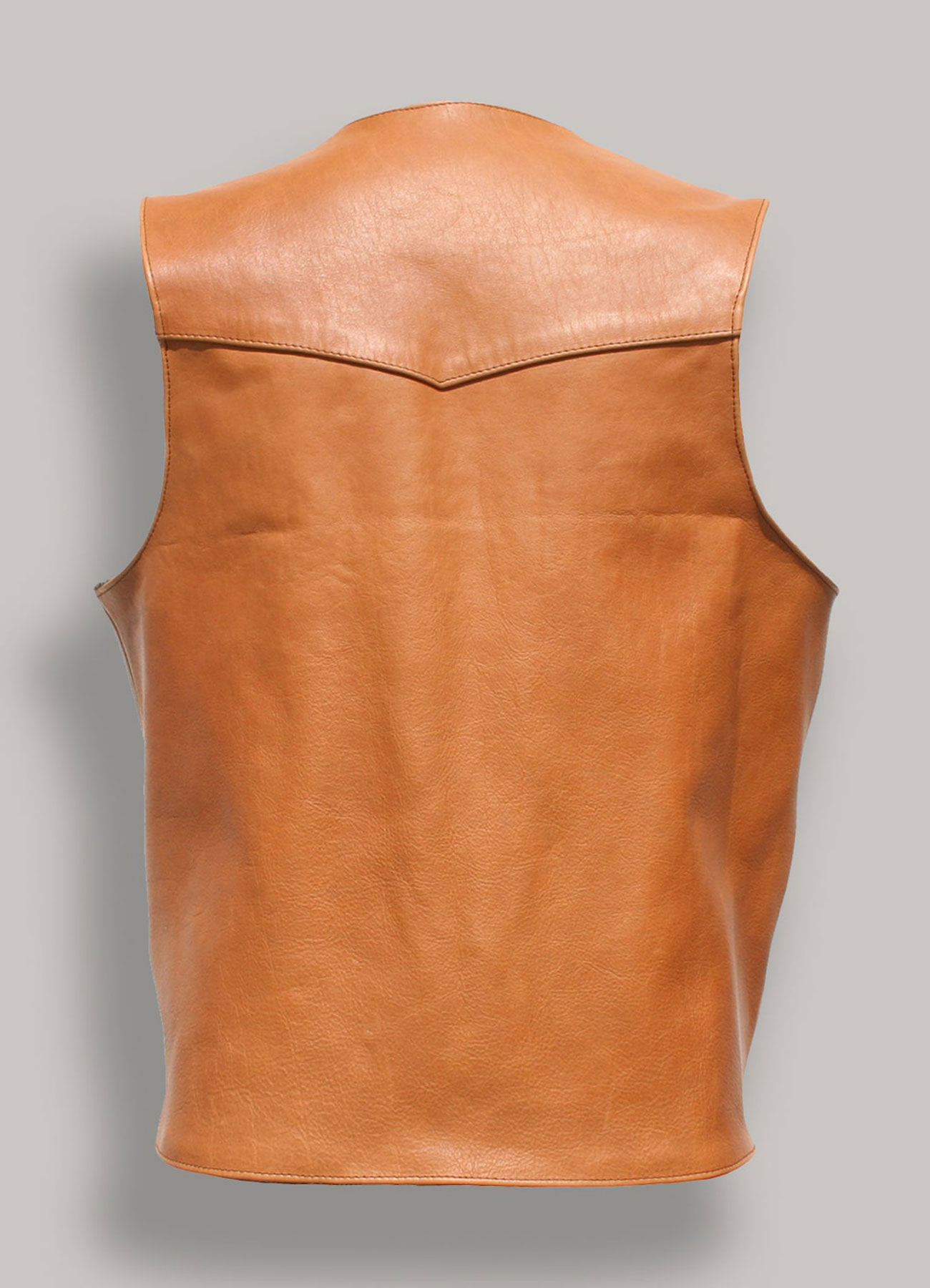 Men Western Style Brown Real Leather Vest