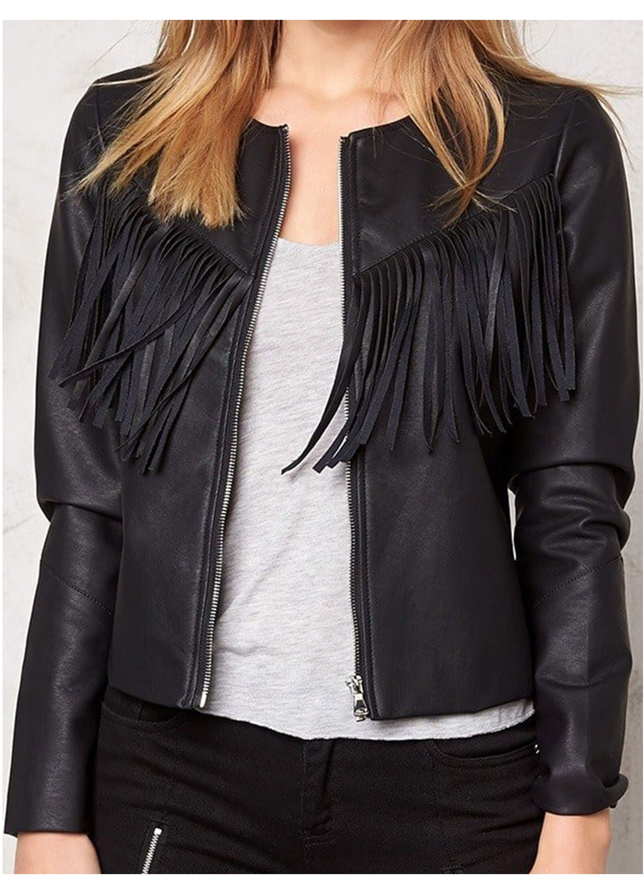 Western Style Fashion Jacket Genuine Leather Black with Fringe