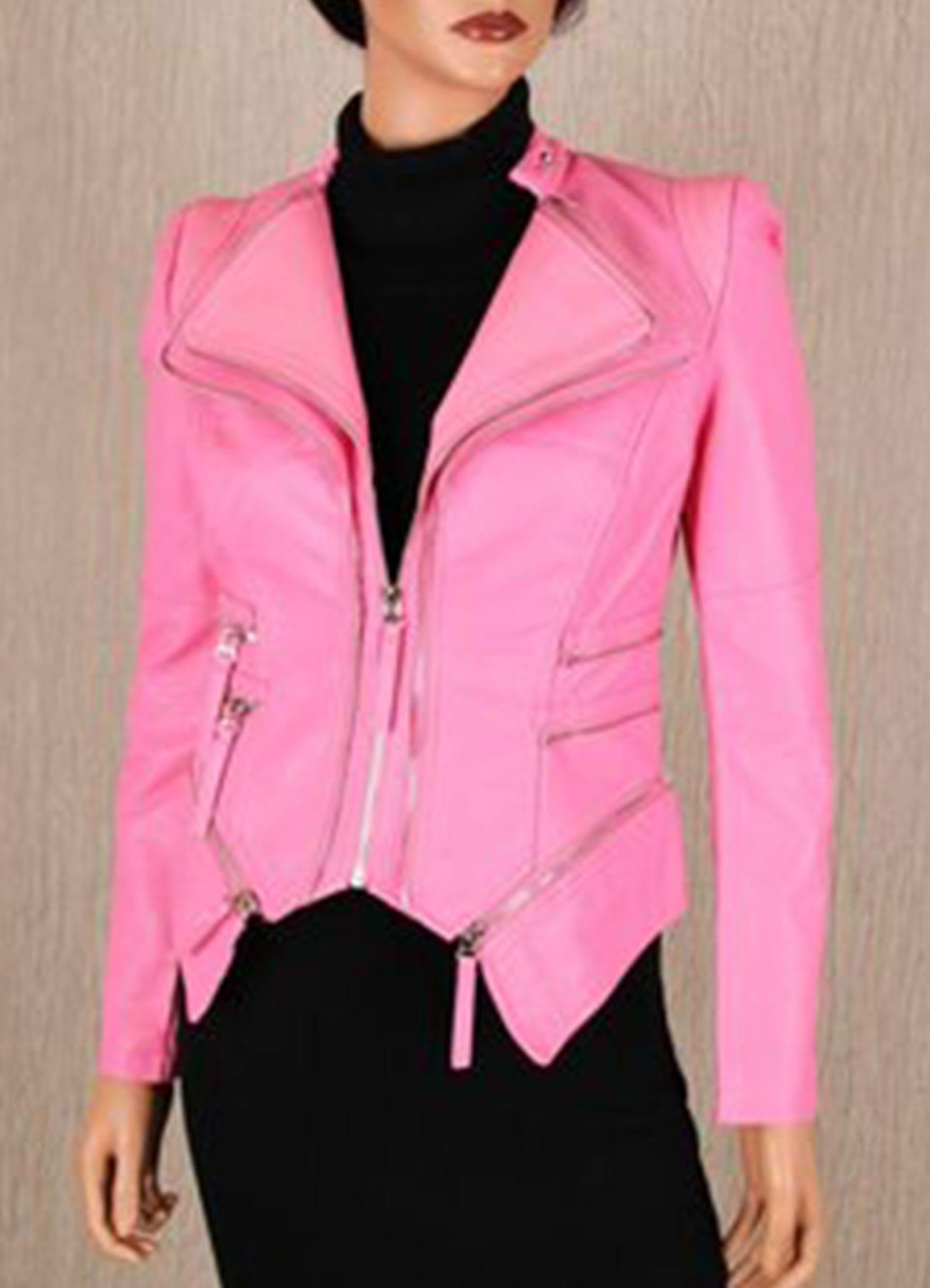 Women Biker Faux Leather Jacket In Pink Color