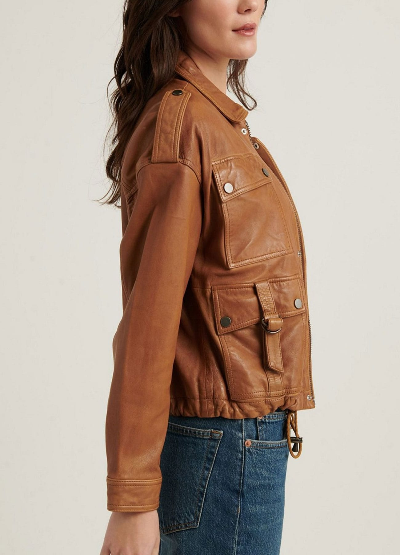 Women Stylish Brown Cowhide Leather Jacket