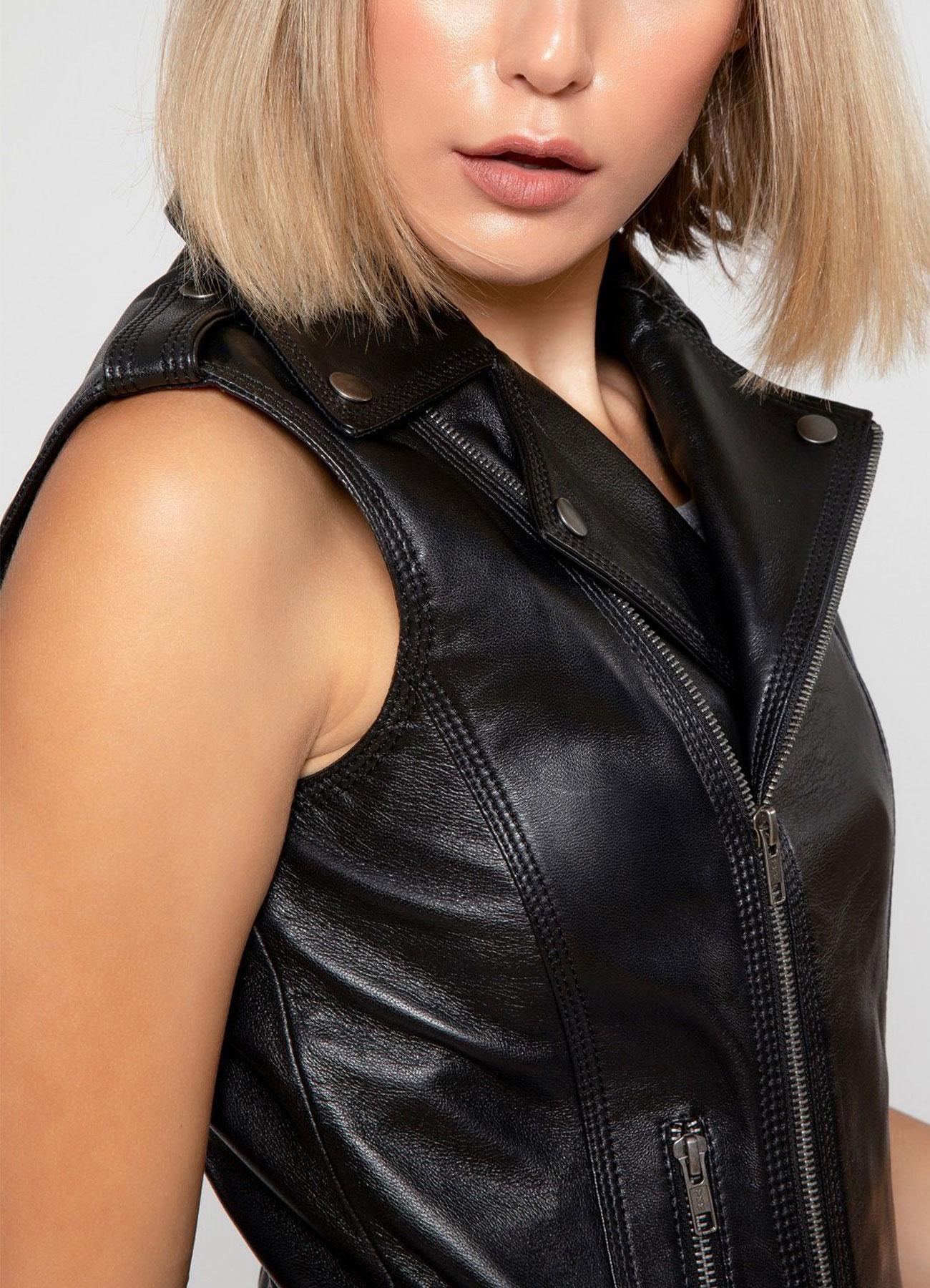 Women's Biker Black Real Leather Vest