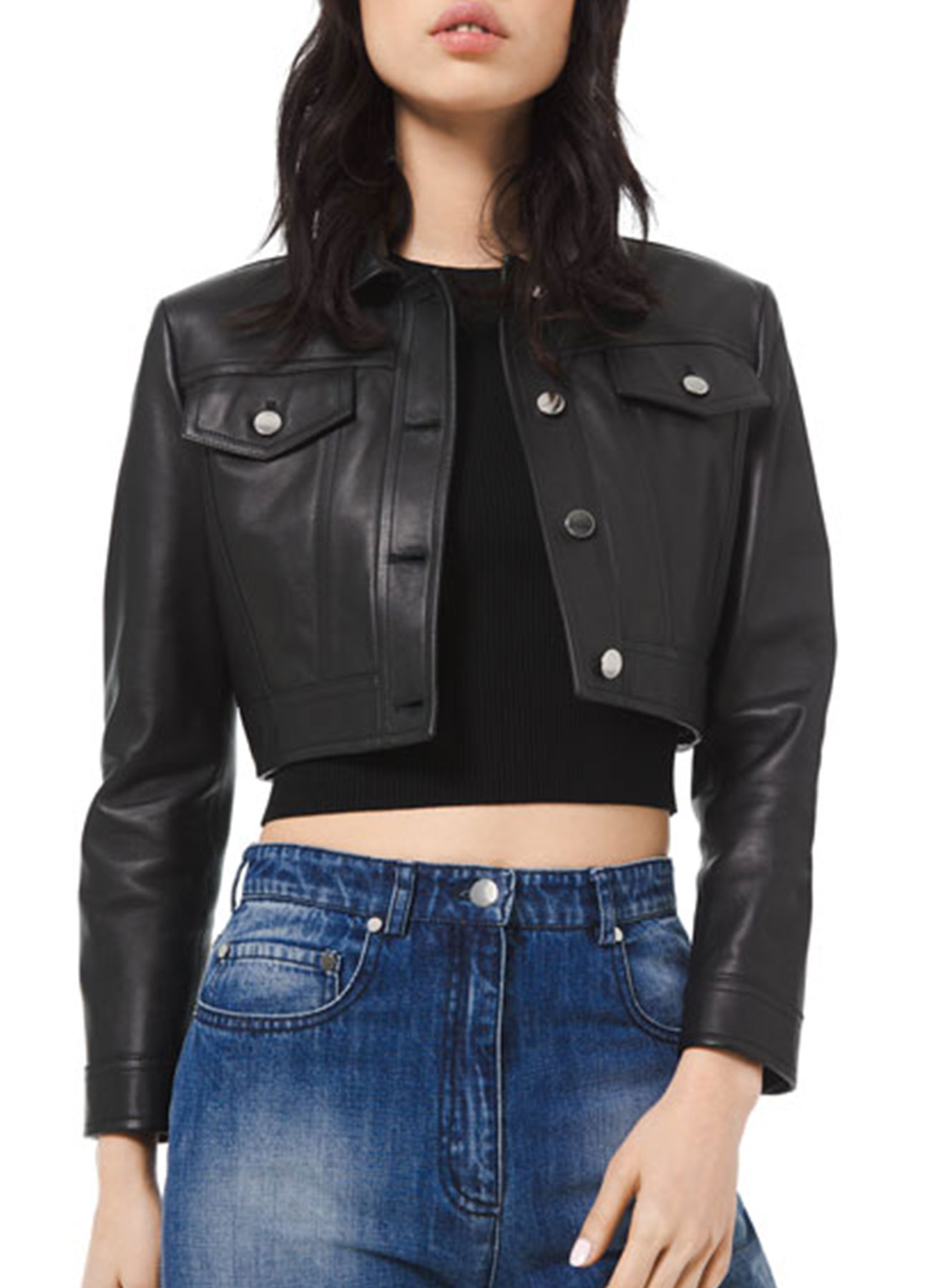 Women's Cropped Black Real Leather Jacket