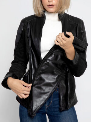 Women's Dual Panel Jacket Black Leather & Suede Material