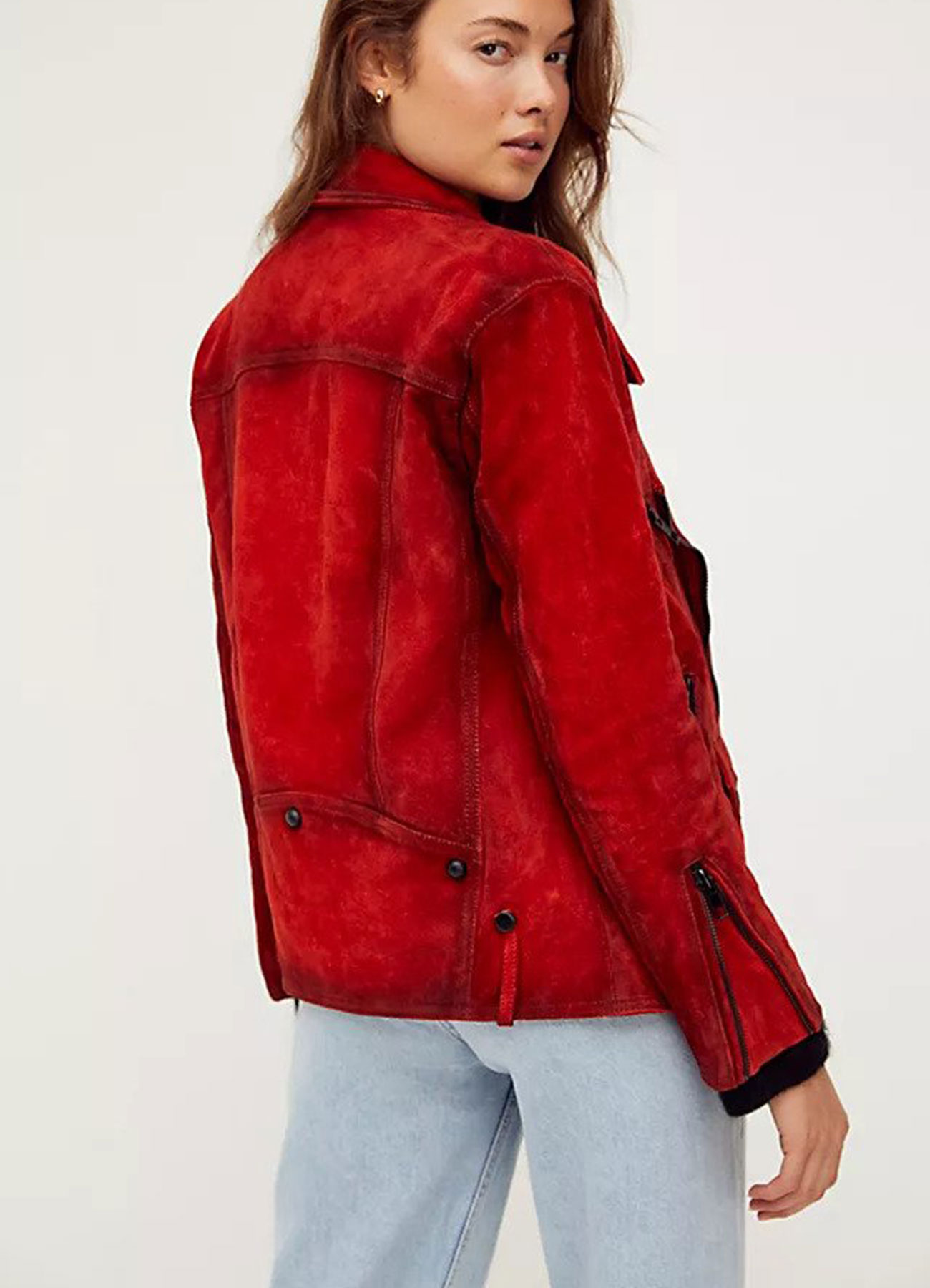 Women's Fashion Red Suede Leather Moto Jacket