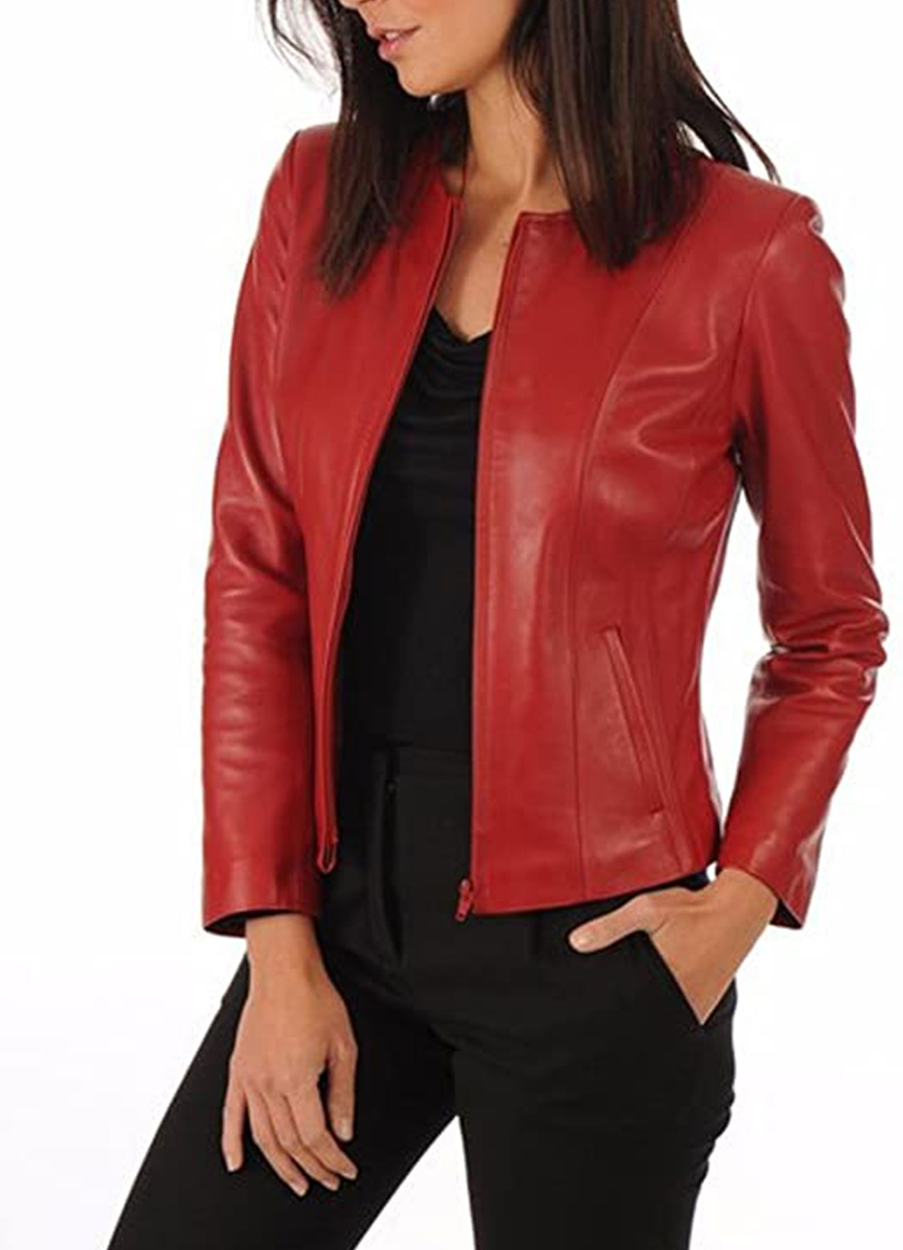Women's Lambskin Leather Bomber Jacket Biker Outwear