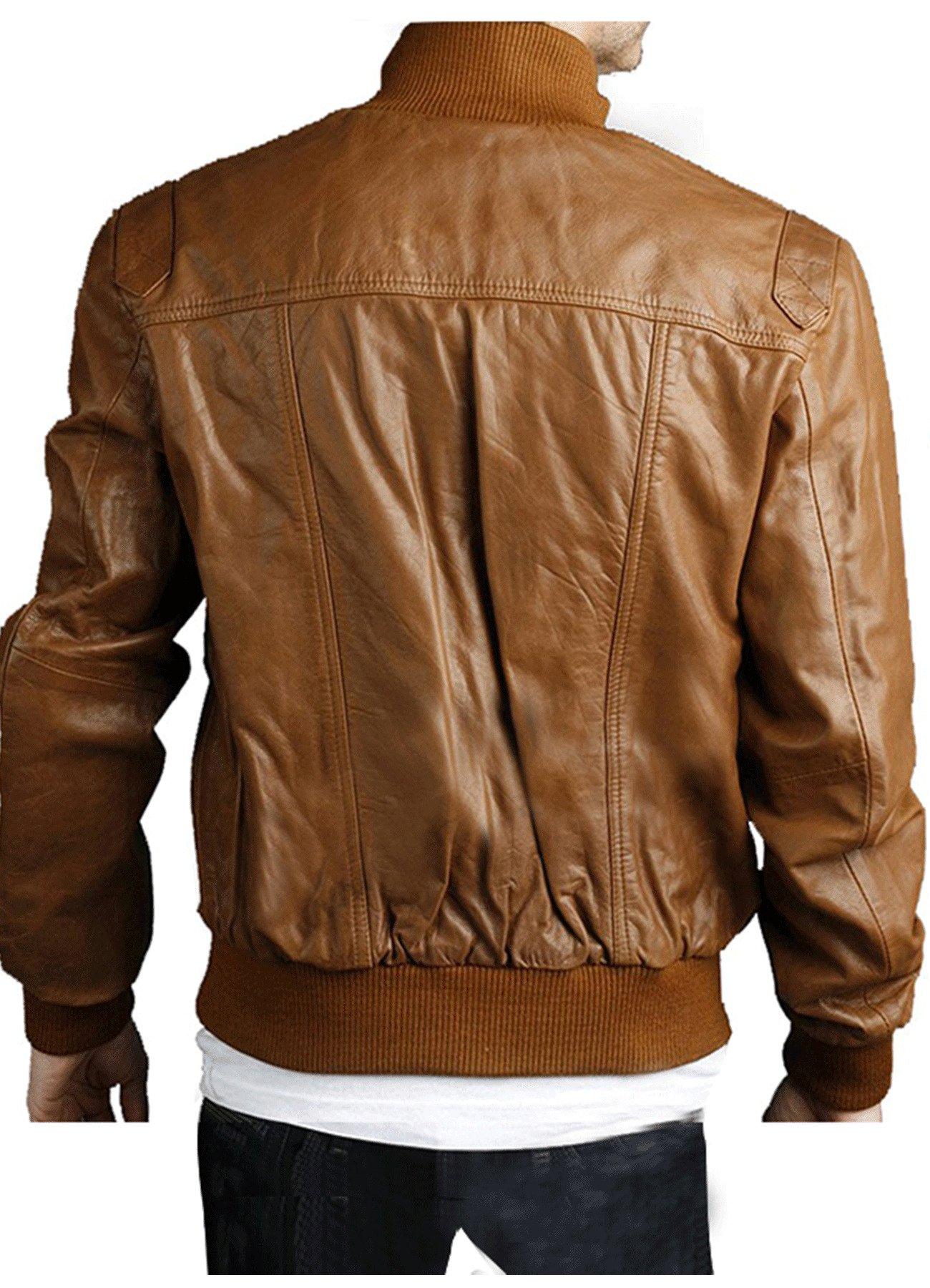 Men's Slim Fit Brown Bomber Real Leather Jacket