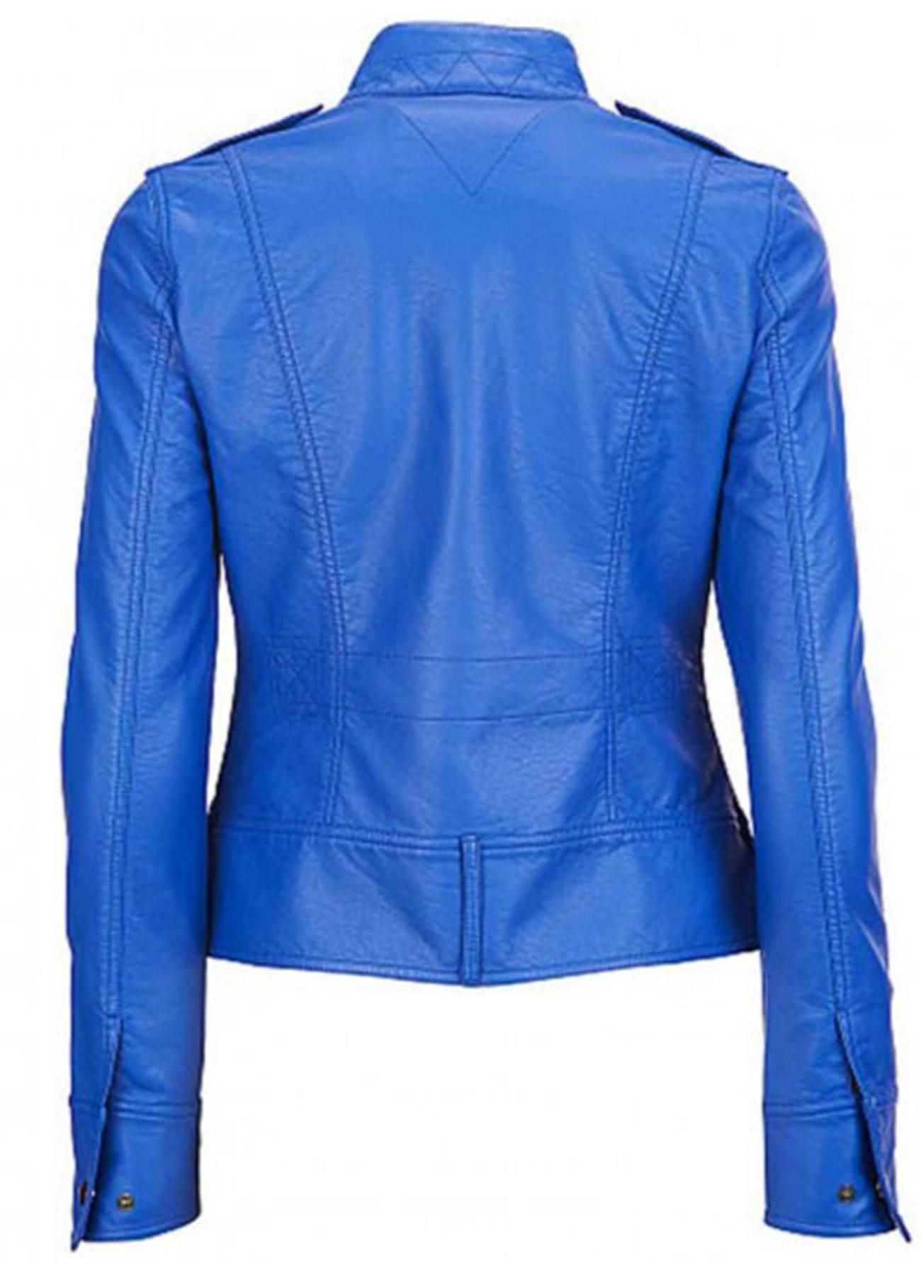 Women's Motorcycle Elegant Blue Genuine Leather Jacket