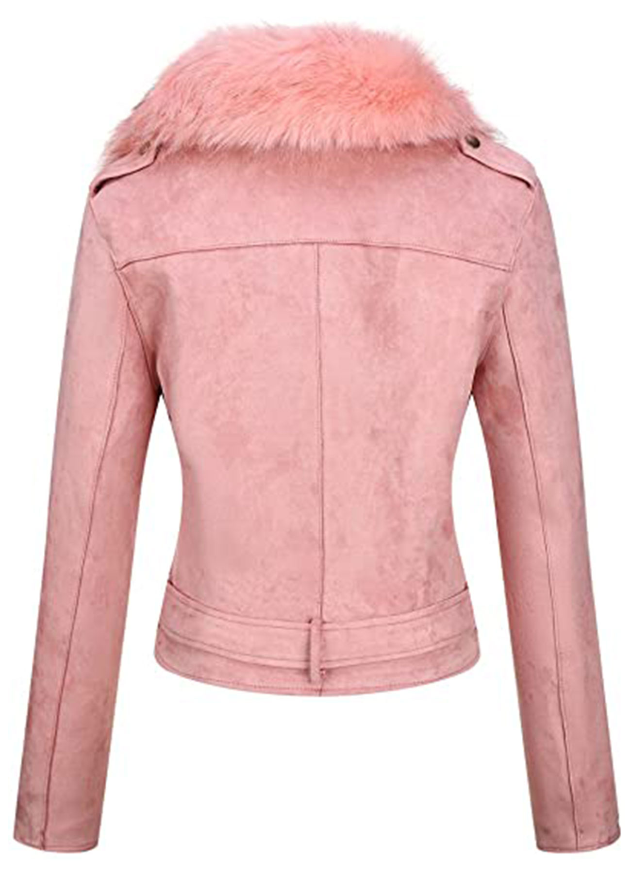 Women's Suede Leather Long Jacket with Faux Fur Collar