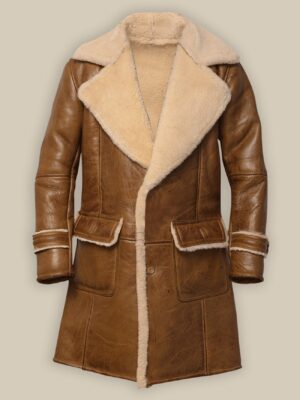 Brown Shearling Coat 100% Real Leather For Men