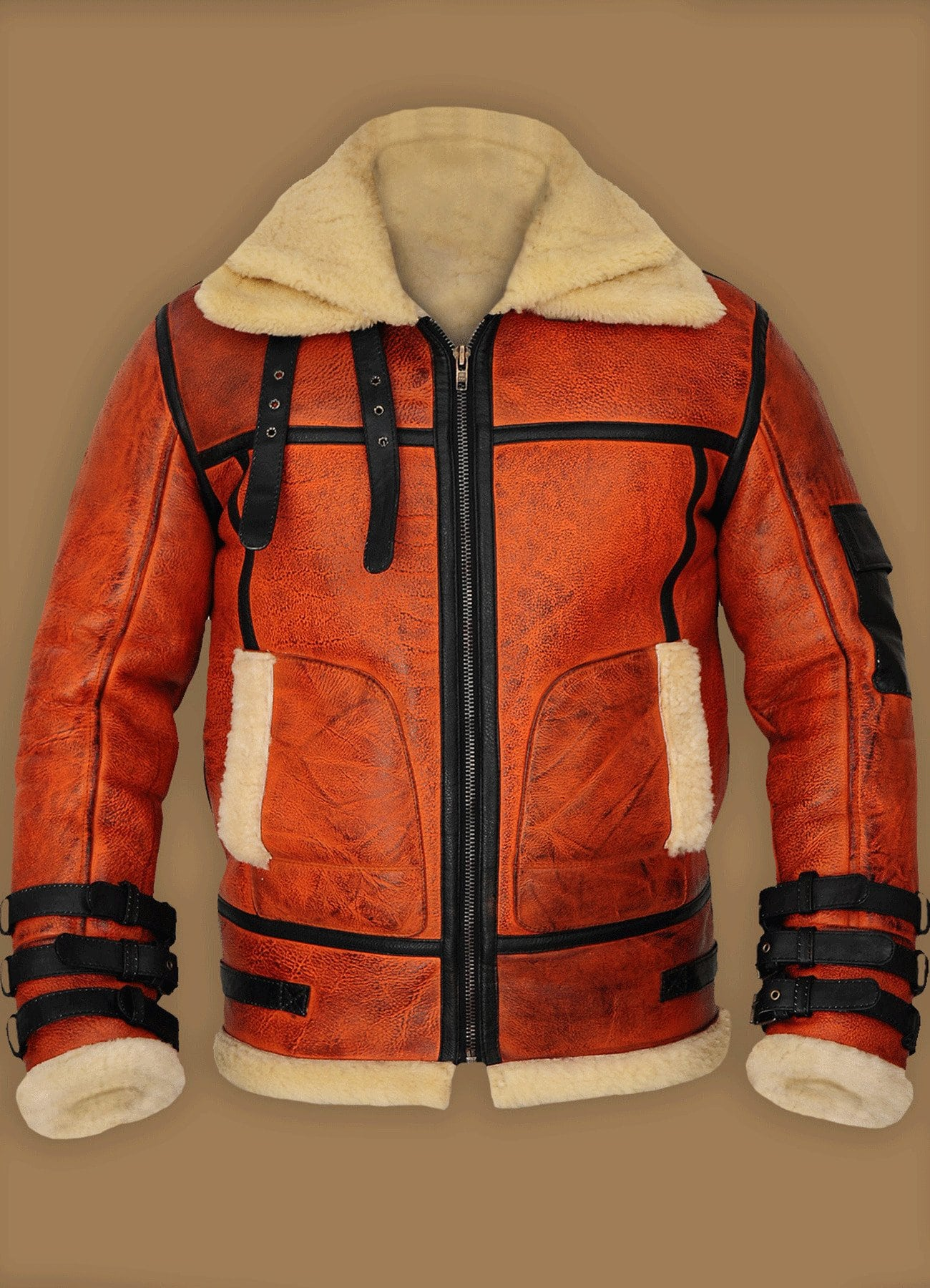 Distressed Brown Shearling Real Leather Jacket For Men