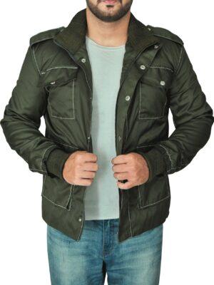 Men's Green Cotton Fabric Stylish Jacket