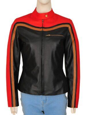 Biker Motorcycle Jacket Faux Leather Black & Orange For Men