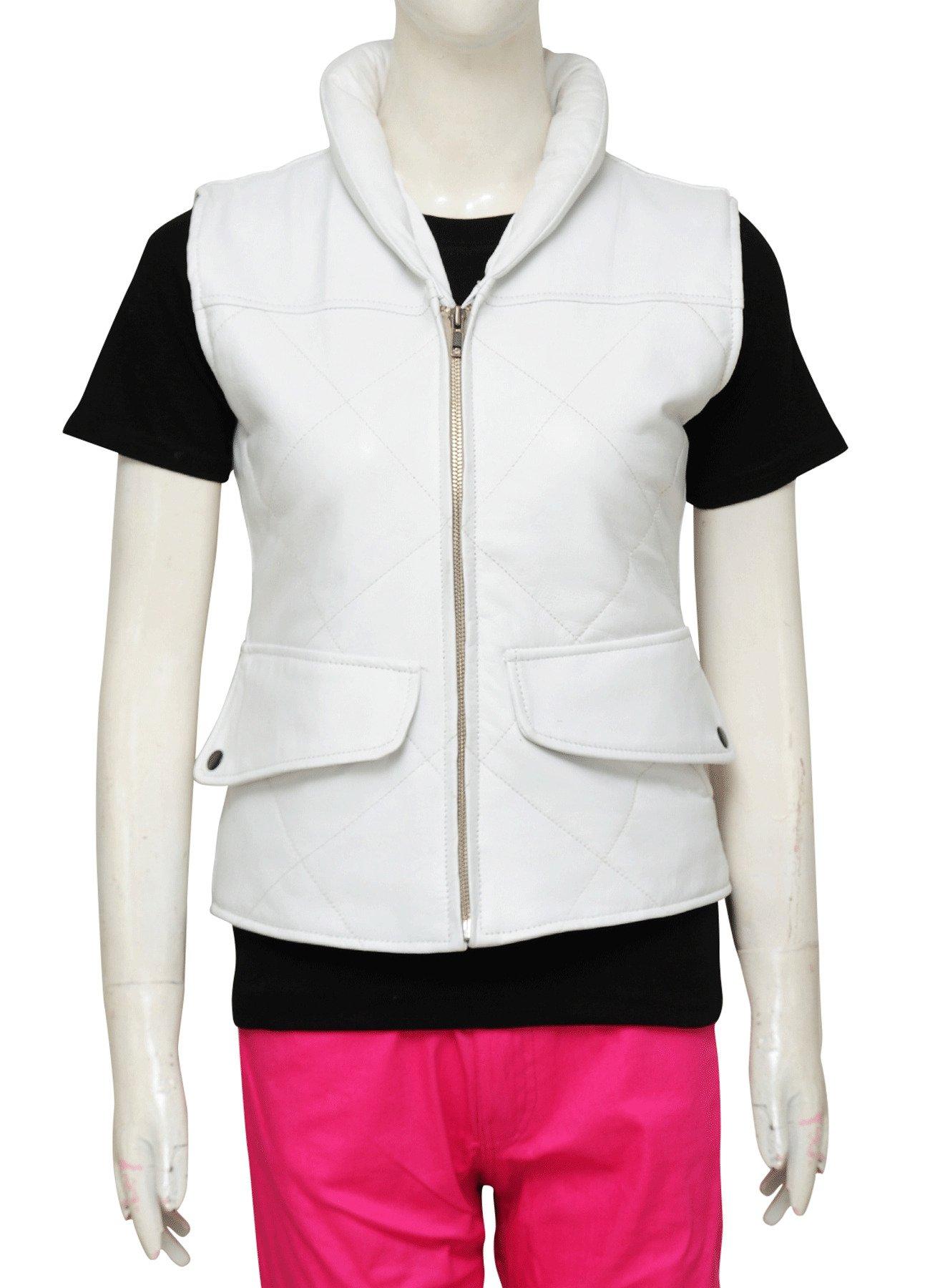 Women Stylish Pearl White Faux Leather Vest