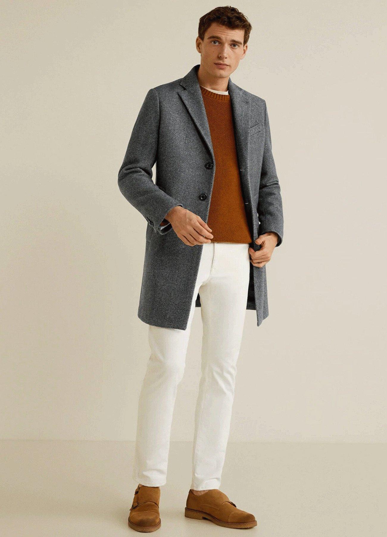 Men's Grey Wool Trench Long Coat
