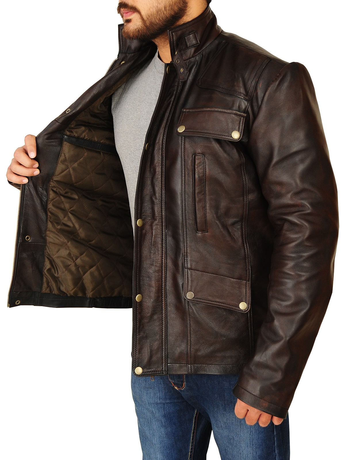 Dark Brown Real Leather Jacket For Men's