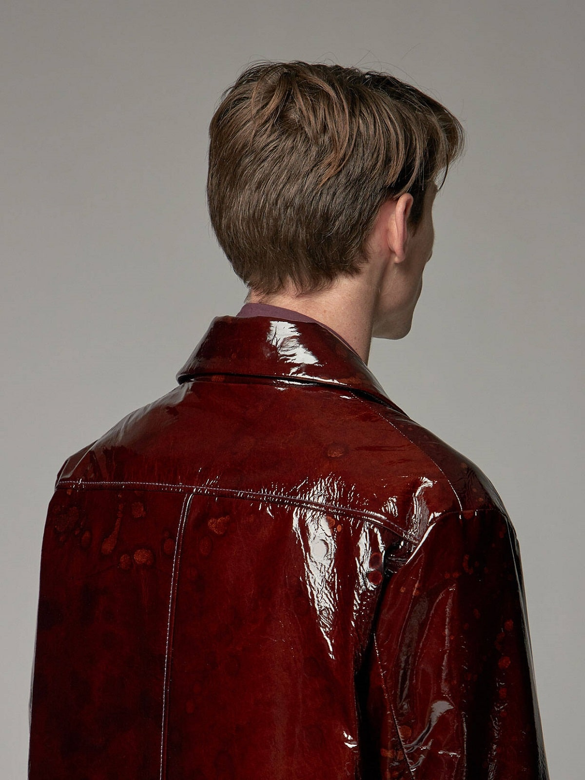 Men Bright Red Glossy Faux Leather Coat