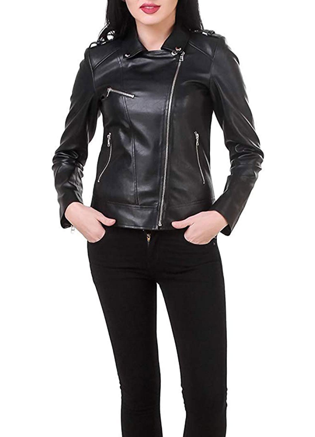 Black Women's Trucker Leather Jacket