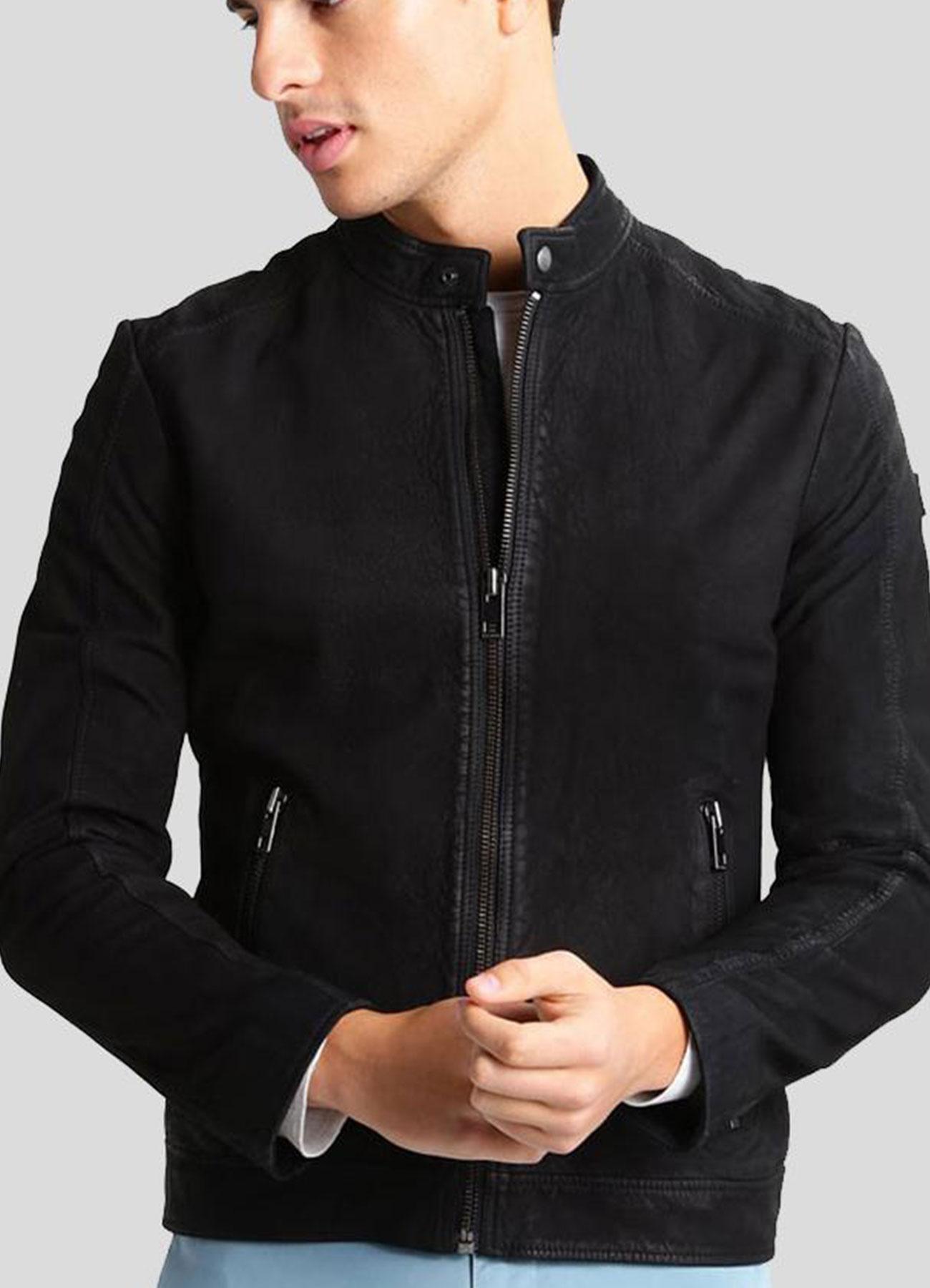 Men's Black Suede Leather Racer Jacket