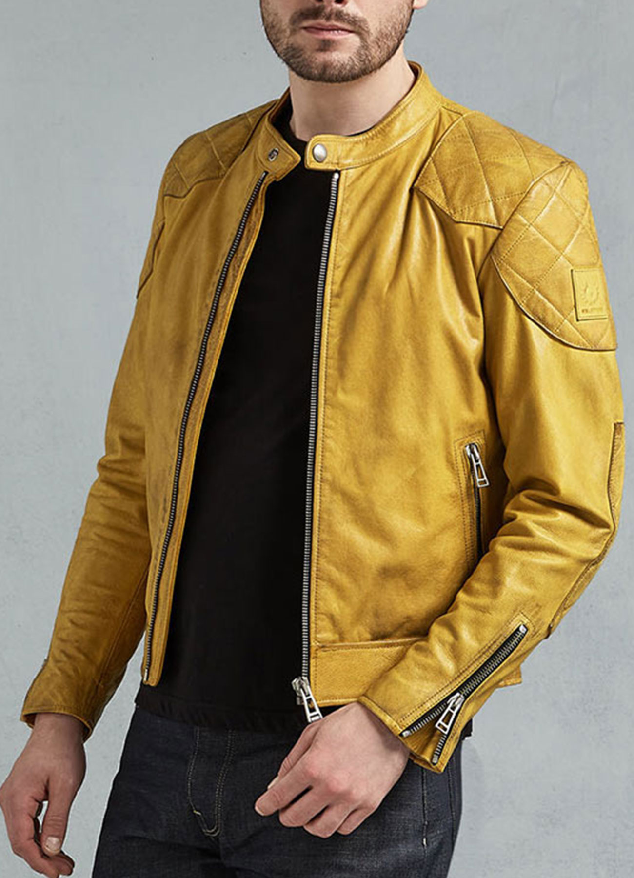 Men's Cafe Racer Yellow Leather Jacket