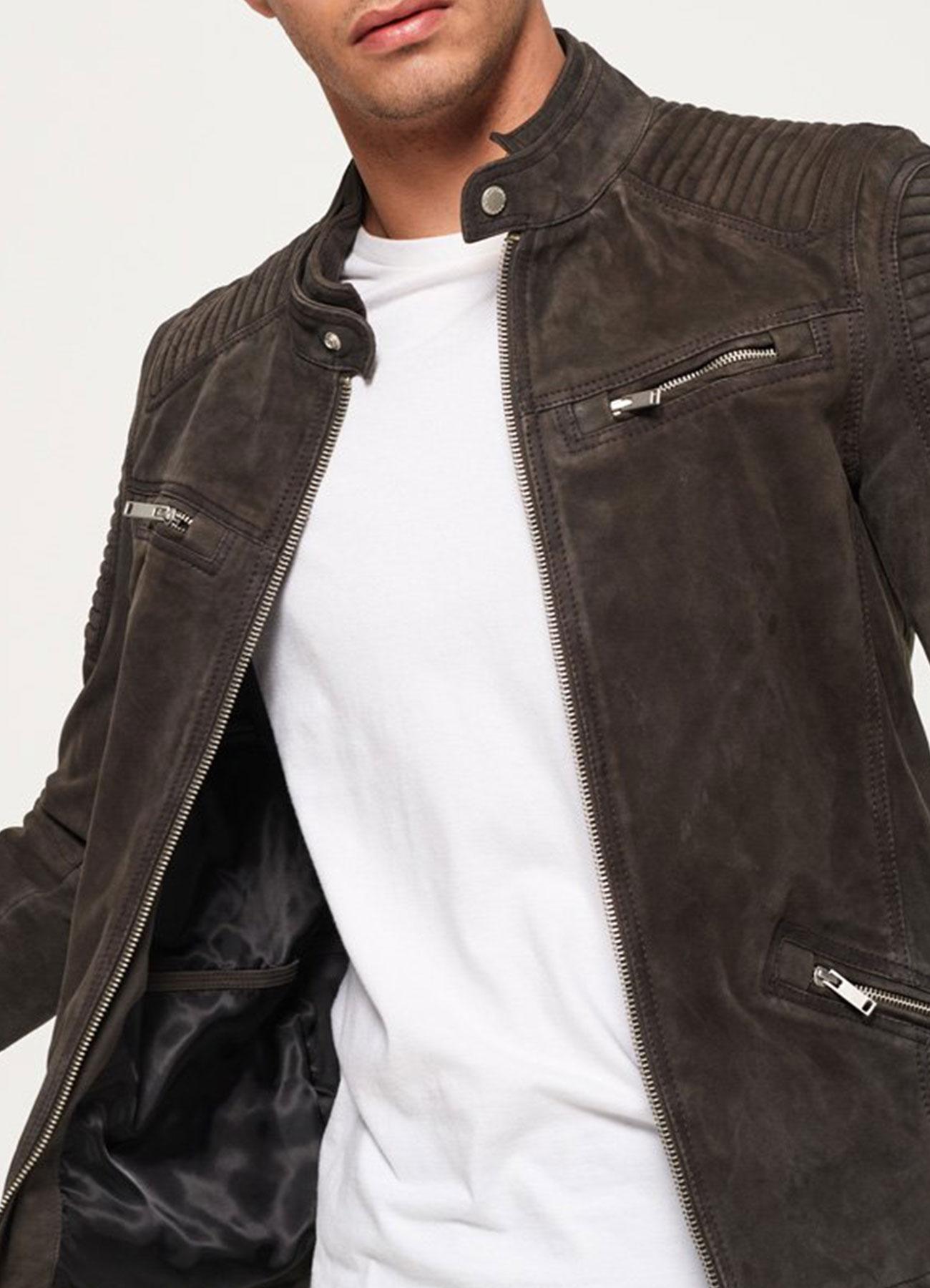 Men's Premium Grey Suede Leather Racer Jacket