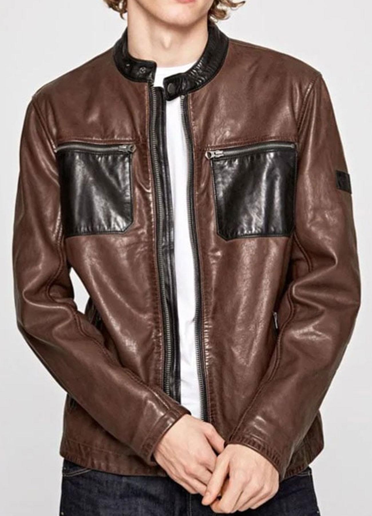 Men's Real Leather Brown Cafe Racer Jacket