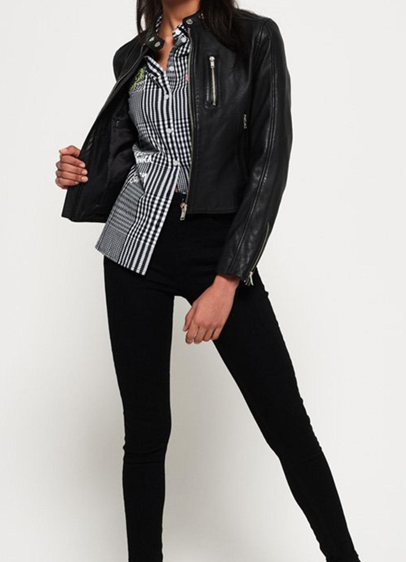 Stylish Women's Black Racer Jacket Faux Leather