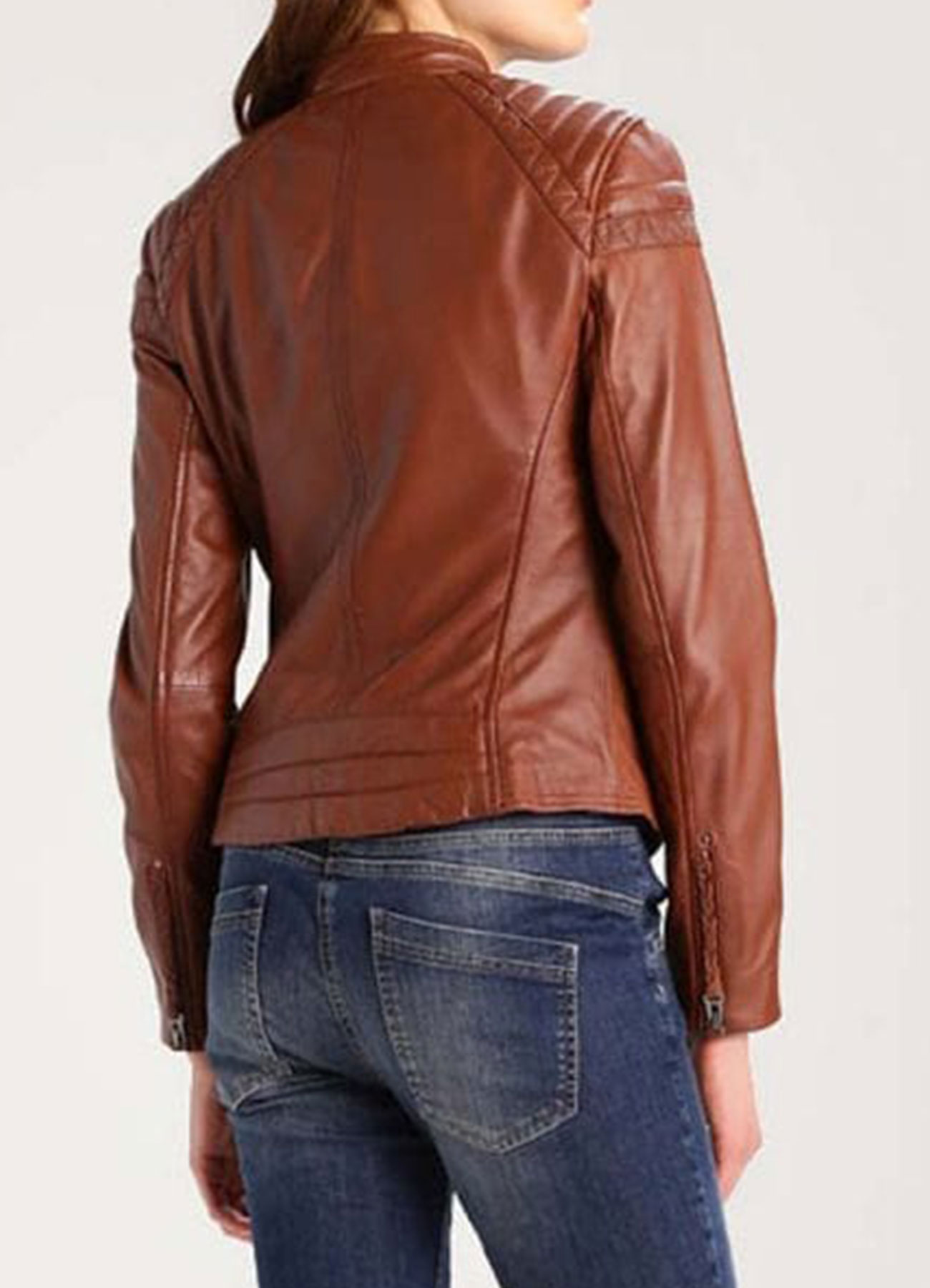 Women's Brown Cafe Racer Jacket Faux Leather