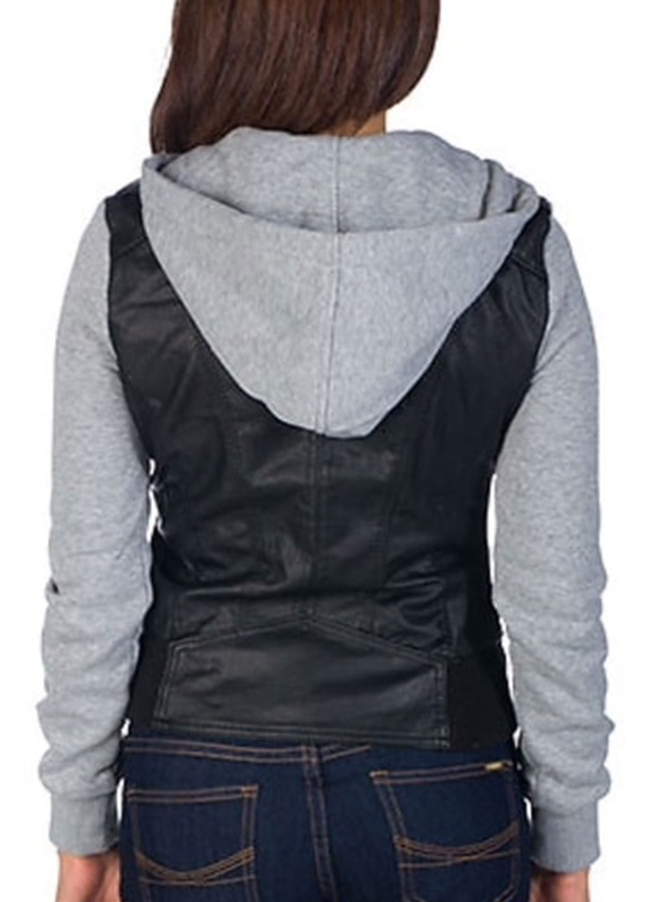 Women's Faux Leather Moto Jacket with Fleece Sleeves & Hood