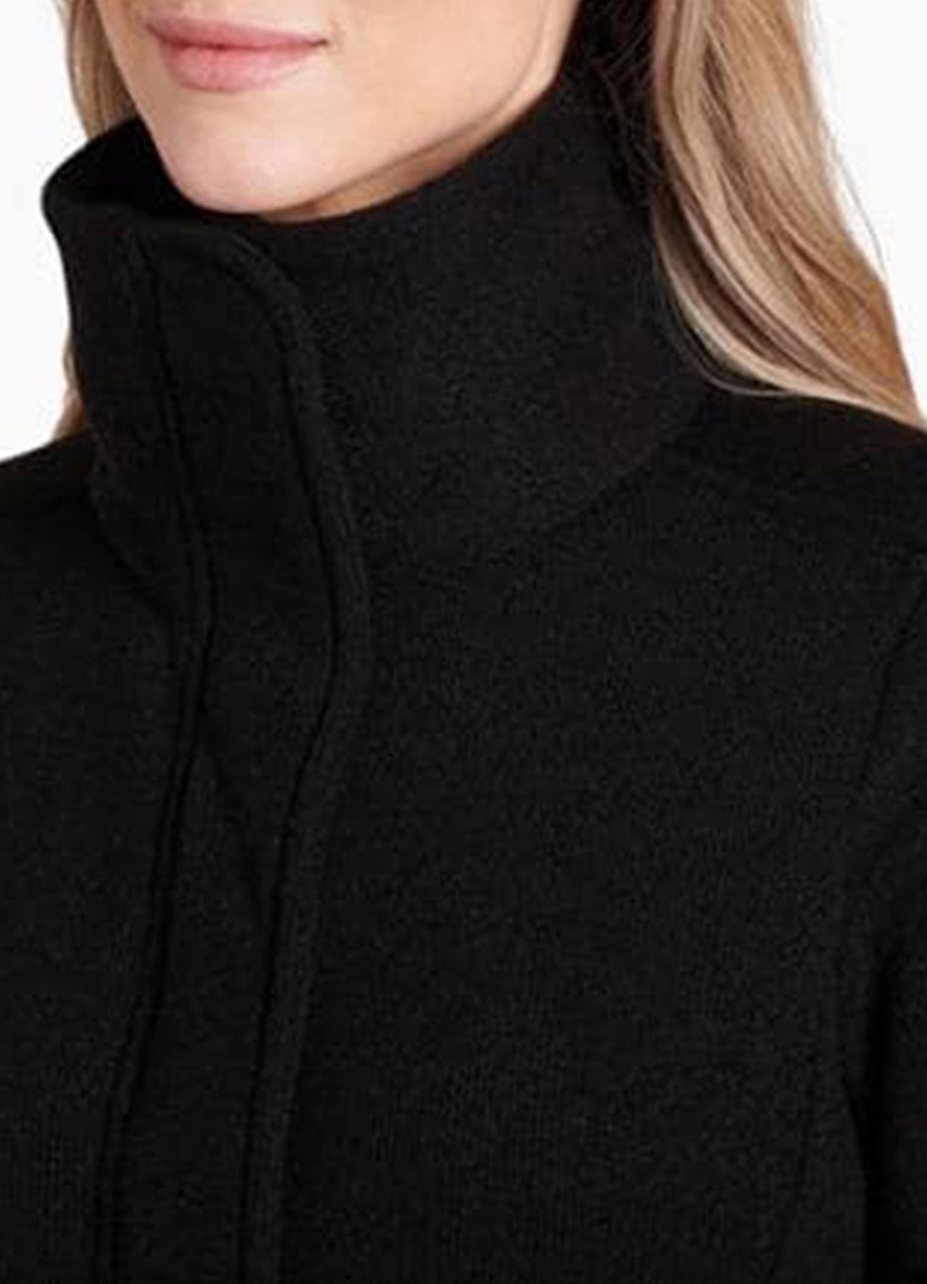 Women's Long Fleece Black Jacket