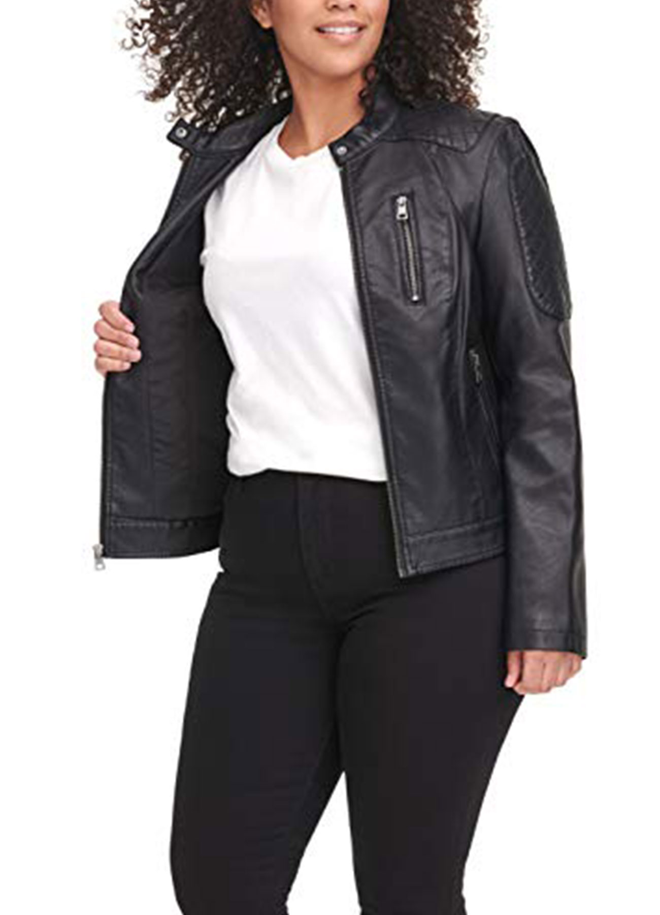 Women's Racer Jacket Black Faux Leather