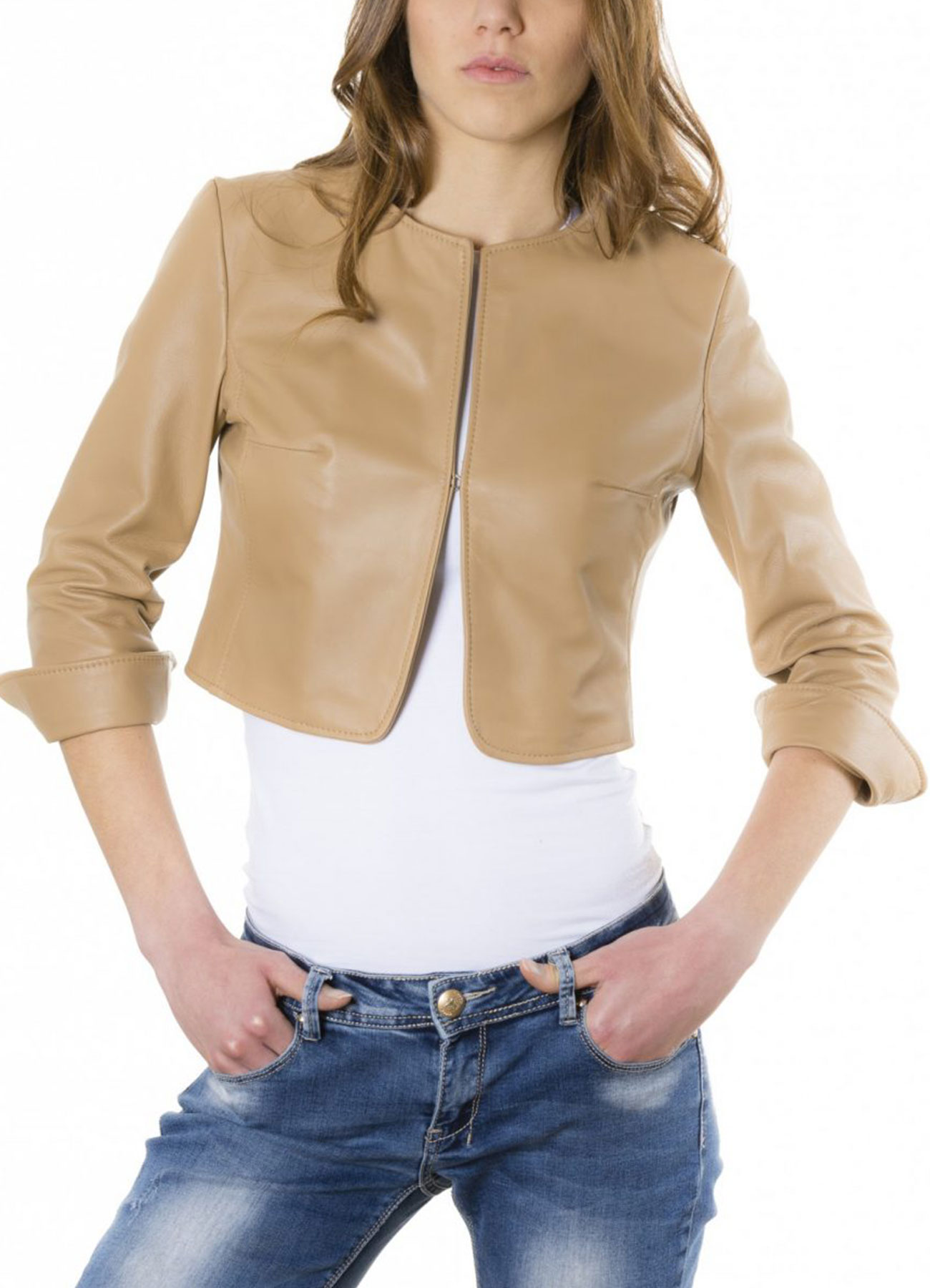 Women's Lamb Leather Round Neck Brown Crop Jacket
